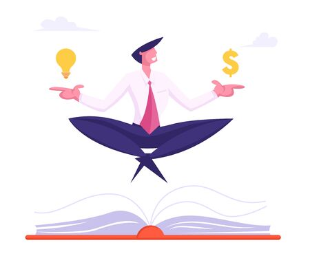 Happy Businessman Meditating with Dollar Sign and Glowing Light Bulb over Huge Book in Office. Business Yoga Meditation on Stressful Work Relaxing on Coffee Break. Cartoon Flat Vector Illustration