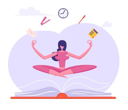 Businesswoman Doing Yoga Meditation in Lotus Posture with Office Supplies Soaring over Huge Book to Calm Down Stressful Emotion From Hard Work, Worker Relaxation. Cartoon Flat Vector Illustration Çizim