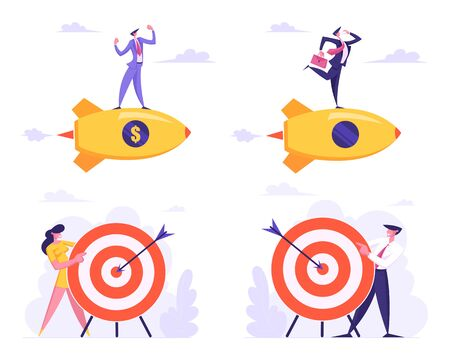 Set of Business Goals Achievement, Opportunity and Challenge Task Solution Strategy Concept with Businessman and Woman Flying with Rocket and Holding Target with Arrow Cartoon Flat Vector Illustration Иллюстрация