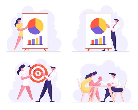 Business Meeting, Project Presentation Goal Achievement, Challenge Concept with Male and Female Characters Data Analysis Statistics, Armwrestling Corporate Education. Cartoon Flat Vector Illustration Illustration