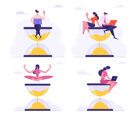 Businesspeople Sitting on Hourglass with Laptop in Hands. Business Process Concept, Time Management Procrastination Multitasking Yoga Meditation Working Productivity Cartoon Flat Vector Illustration