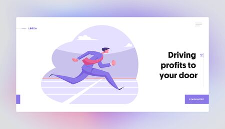 Goal Achievement Corporate Competition Website Landing Page. Running Business Man Crossing Finish Line on Stadium. Successful Businessman Leadership Web Page Banner. Cartoon Flat Vector Illustration