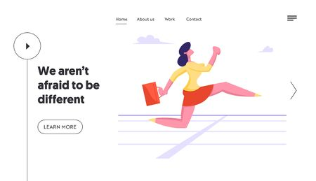Challenge and Leadership Website Landing Page. Business Woman Character Running on Stadium Track. Successful Businesswoman Crossing Finishing Line Web Page Banner. Cartoon Flat Vector Illustration