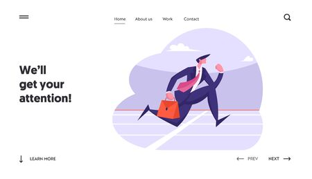 Successful Leader Business Man Character Running Sprint Race Website Landing Page. Businessman Crossing Finish Line. Leadership Competition Challenge Web Page Banner. Cartoon Flat Vector Illustration  イラスト・ベクター素材