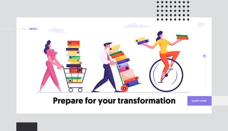 Employees Loaded with Hard Work in Office Website Landing Page. Business People Carry Piles of Documents Following Woman Riding Monowheel, Deadline Web Page Banner. Cartoon Flat Vector Illustration,