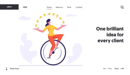 Businesswoman Character Racing Leadership Competition Website Landing Page. Business Woman Riding Monowheel Juggling with Light Bulbs. Creative Idea Web Page Banner. Cartoon Flat Vector Illustration Иллюстрация