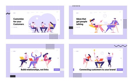 Business People Team Sitting in Office Communicating Discussing Working Project, Teamwork Group Creative Idea Development Website Landing Page Set, Web Page Banner. Cartoon Flat Vector Illustration