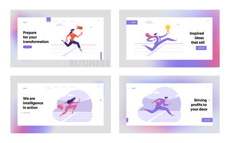 Leadership Creative Idea Competition Website Landing Page Set. Successful Business People Running on Stadium. Leader Crossing Finishing Line on Track Web Page Banner. Cartoon Flat Vector Illustration
