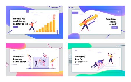 Teamwork Business Competition Goal Achievement Website Landing Page Set. Businesswoman Aiming Arrow to Target Board on Chart Top, Office People Racing Web Page Banner. Cartoon Flat Vector Illustration Иллюстрация