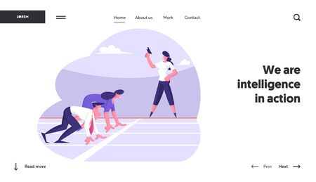Leadership Challenge Website Landing Page. Business Competition with Business People Stand in Low Start Posture Prepare to Run Waiting Judge Gun Signal Web Page Banner Cartoon Flat Vector Illustration Ilustracja
