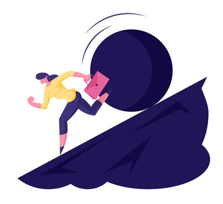 Businesswoman Running Away From Big Stone Rolling Down from Steep Mountain Trying to Fled Disaster or Financial Crisis in Business. Problems, Bankruptcy Concept. Cartoon Flat Vector Illustration