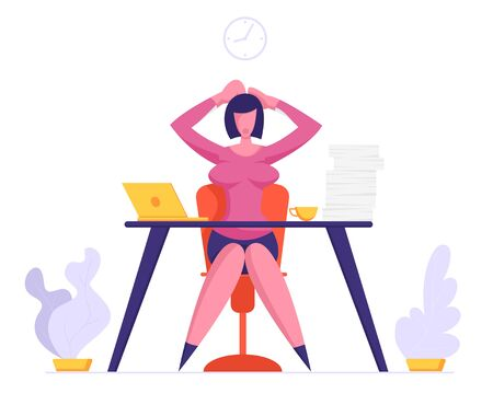 Business Woman Holding Head with Hands Sitting at Workplace with Documents Heap Loaded with Hard Work in Office. Multitasking Deadline and Time Management Concept. Cartoon Flat Vector Illustration Illusztráció