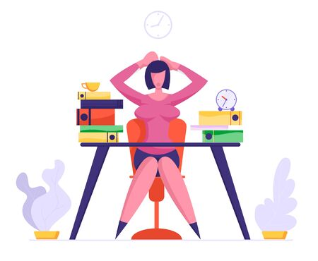 Overloaded with Hard Work Business Woman Holding Head with Hands Sitting at Workplace with Files Heap in Office. Multitasking Deadline and Time Management Concept. Cartoon Flat Vector Illustration