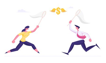 Homme d'affaires et femme d'affaires chassant le signe dollar volant essayant de l'attraper avec un filet à papillons. Succès financier Opportunité d'affaires Richesse Nouvelle recherche de source de revenu. Illustration vectorielle plane de dessin animé Vecteurs
