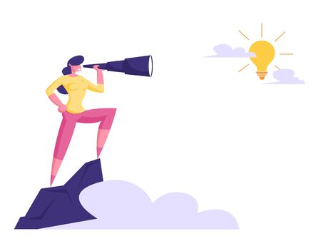 Businesswoman Stand on Top of Mountain Watching to Spyglass on Shining Light Bulb in Sky. Business Vision, Recruitment Employee, Business Character Visionary Forecast. Cartoon Flat Vector Illustration Stockfoto - 129762842