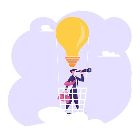 Hombre de negocios con maletín en mano soporte en canasta de globo de aire de bombilla mirando al catalejo. Visión empresarial, empleado de contratación, ilustración de Vector plano de dibujos animados de predicción de pronóstico empresarial