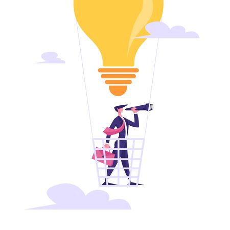 Businessman with Briefcase Flying on Air Balloon en forme d'ampoule à regarder Spyglass. Vision d'entreprise, prévision de prévision, réussite planification future stratégie Cartoon plat Vector Illustration Vecteurs