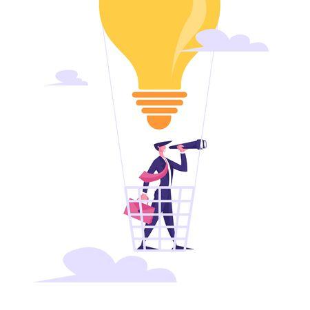 Uomo d'affari con valigetta volare su mongolfiera a forma di lampadina guardando al cannocchiale. Visione aziendale, previsione delle previsioni, pianificazione del successo strategia futura Cartoon Flat Vector Illustration Vettoriali