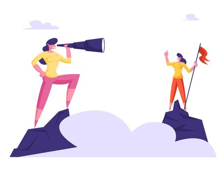 Businesswoman Stand on Top of Mountain with Red Flag Watching to Spyglass Over Sky Clouds. Business Vision, Recruitment Employee, Business Character Visionary Forecast Cartoon Flat Vector Illustration
