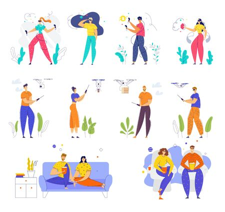Set of Male and Female Characters Wearing Vr Glasses, Playing with Quadcopter, Visiting Cinema and Watching Tv at Home, Happy People Leisure Hobby Entertainment Relax Cartoon Flat Vector Illustration