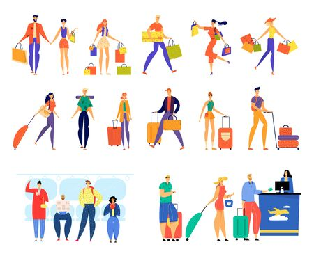 Set of Male and Female Characters Shopping, Traveling with Luggage, Riding on Metro and Stand in Queue for Airplane Registration. Happy Men and Women with Bags Baggage Cartoon Flat Vector Illustration Ilustração