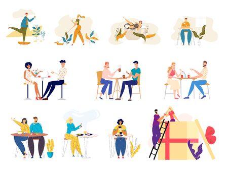 Satz von männlichen und weiblichen Charakteren, die mit Haustieren im Freien spazieren gehen, Kaffee trinken auf der Straße besuchen Café zum Essen, Leute, die sich verabreden, Verlobungsmann, der dem Mädchen-Karikatur-flachen Vektor-Illustration Ring präsentiert Vektorgrafik