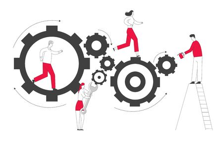Tiny Men and Women Characters on Ladders with Repair Tools and Instruments Fixing Huge Broken Clocks and Watches Mechanism Made of Gears and Cogwheels, Time Concept. Cartoon Flat Vector Illustration Illustration