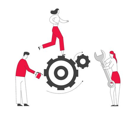 Team Working Process Concept. Tiny Business People Men and Women Generating Ideas Set in Motion and Grease with Oil Huge Gears and Cogwheels, Alternative Thinking, Cartoon Flat Vector Illustration