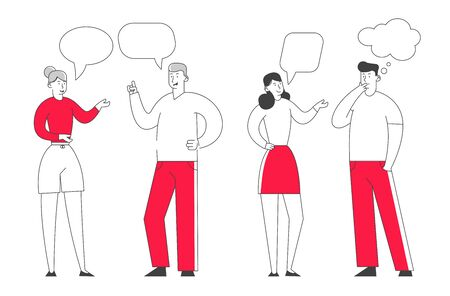 Group of Young People Speaking Together. Male and Female Characters Communication with Dialog Speech Bubbles. Teamwork and Connection Business People Discuss Cartoon Flat Vector Illustration, Line Art Ilustracja