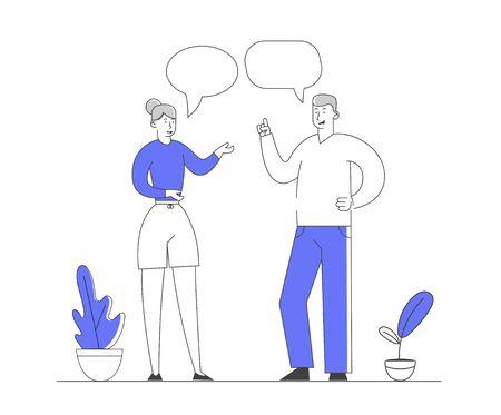 Jeune homme et femme discutant et communiquant. Personnes communiquant avec des bulles sur fond blanc. Les gens d'affaires discutent et prennent des décisions. Illustration vectorielle plane de dessin animé, dessin au trait Vecteurs