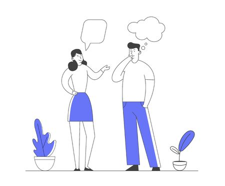 Male and Female Characters Communication with Dialog Speech Bubbles. Couple of Young People Speaking Together. Teamwork and Connection Business People Discuss Cartoon Flat Vector Illustration Line Art