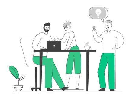 Creative Process in Office. Business People Stand at Desk Discussing Idea Concept with Light Bulb in Speech Bubble. Team Project Development, Teamworking Cartoon Flat Vector Illustration, Line Art