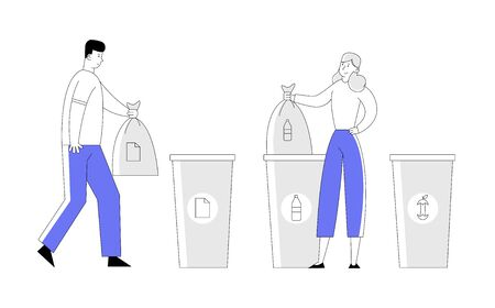 Man and Woman Throw Trash into Recycling Containers and Bags. People Recycle Garbage, Environmental Pollution Problem, Ecology Protection, Reduce Plastic Cartoon Flat Vector Illustration, Line Art