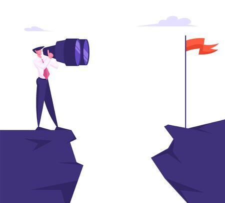 Businessman Stand on Mountain Top Watching through Huge Binoculars on Red Flag on other Side of Cliff. Business Goal Vision, Character Visionary Forecast Prediction. Cartoon Flat Vector Illustration