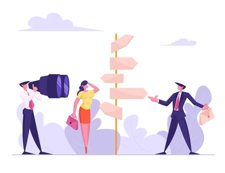 Choice Way Concept with Confused Business People Stand at Road Pointer with Hard and Easy Directions, Making Decision what Path to Choose. Crossroad Life Challenge Cartoon Flat Vector Illustration