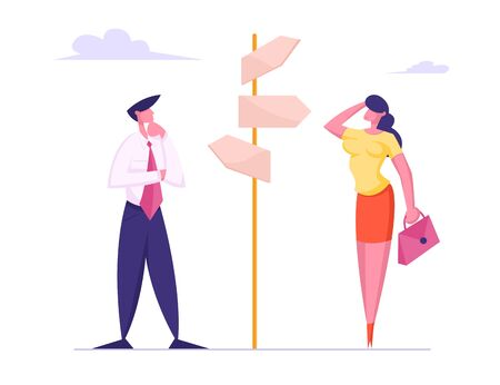 Businesspeople Making Important Decision and Choice Standing at Crossroad Pointer with Several Ways Directions in Business or Life. People Decide what Way to Choose. Cartoon Flat Vector Illustration Фото со стока - 129762878
