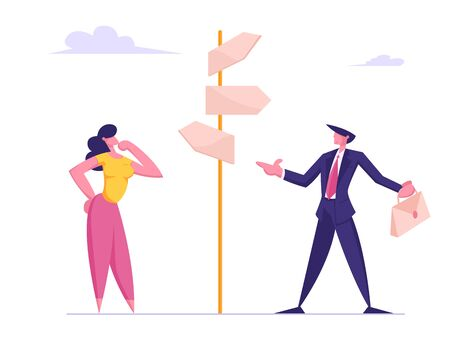 Business Challenge and Task Solution Choice Way Concept with Businessman and Businesswoman Stand on Crossroad Fork Pointer Making Decision what Road Direction Choose. Cartoon Flat Vector Illustration