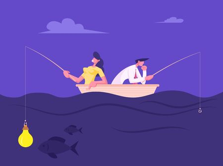 Businesspeople Catching Fish Sitting in Boat with Rods. Business Woman Having Glowing Light Bulb instead of Bait on Hook, Man Have no Lure, Fish Bite on Lightbulb. Cartoon Flat Vector Illustration Ilustração