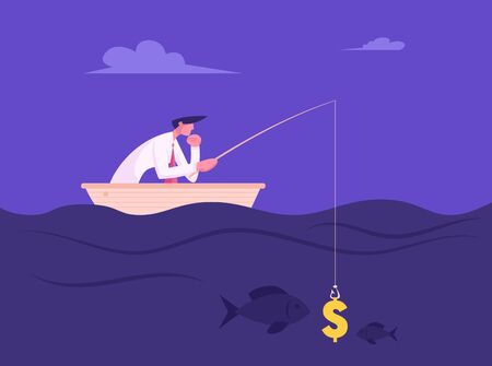 Business Man Fishing with Dollar Sign like Bait. Success Finance Growth Strategy. Manager or Office Employee Earning Money Concept Catching Fish in Opportunities Ocean Cartoon Flat Vector Illustration Ilustração
