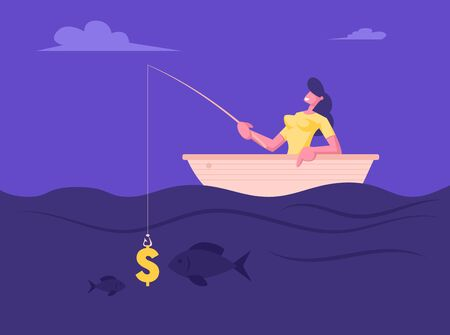 Successful Businesswoman Having Good Catch during Fishing in Boat. Business Opportunities Metaphor, Woman Having Dollar Sign as Bait on Fishing Rod Earning Money. Cartoon Flat Vector Illustration