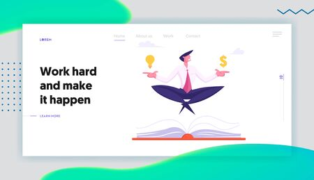 Business Yoga Meditation on Stressful Work Website Landing Page. Businessman Meditating with Dollar and Glowing Light Bulb over Huge Book in Office Web Page Banner. Cartoon Flat Vector Illustration