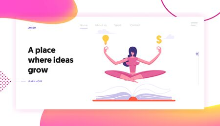Relaxed Businesswoman in Lotus Position Doing Yoga at Workplace Website Landing Page. Office Worker Meditate with Dollar Sign and Light Bulb over Book Web Page Banner. Cartoon Flat Vector Illustration