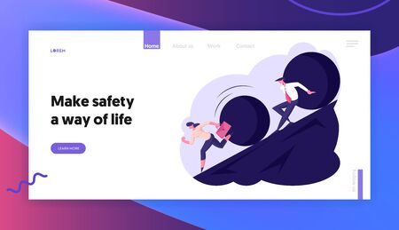 Threatening Big Problem to Businesspeople Website Landing Page. Business Woman and Businessman Running Away From Big Stone Rolling Down from Hill Web Page Banner. Cartoon Flat Vector Illustration