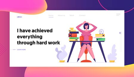 Multitasking Deadline and Time Management Website Landing Page. Overloaded with Hard Work Business Woman Sitting at Workplace with Files Heap in Office Web Page Banner Cartoon Flat Vector Illustration Illustration