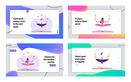 Business Yoga Meditation Website Landing Page Set. Businesspeople Relaxing and Meditating in Lotus Pose with Office Supplies Soaring over Huge Book Web Page Banner. Cartoon Flat Vector Illustration