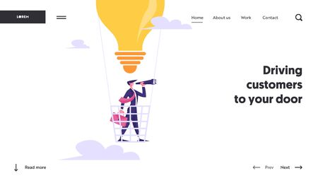 Success Planning Future Strategy Website Landing Page. Businessman Flying on Light Bulb Air Balloon Watching to Spyglass. Business Vision, Prediction Web Page Banner. Cartoon Flat Vector Illustration 矢量图片