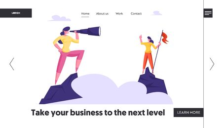 Business Character Visionary Forecast Website Landing Page. Businesswoman Stand on Top of Mountain with Red Flag Watching to Spyglass. Business Vision Web Page Banner. Cartoon Flat Vector Illustration