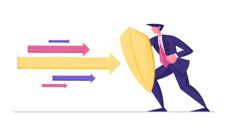 Businessman or Manager Wearing Formal Suit Holding Golden Shield Protecting himself from Huge Multicolored Arrows Flying at him. Business Secure and Protection Concept Cartoon Flat Vector Illustration