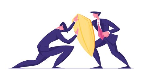 Businessman Trying to Overcome Resistance Attacking Man with Golden Shield. Business Protection, Onslaught and Confrontation Concept. Overcoming of Crisis Situation. Cartoon Flat Vector Illustration Ilustração