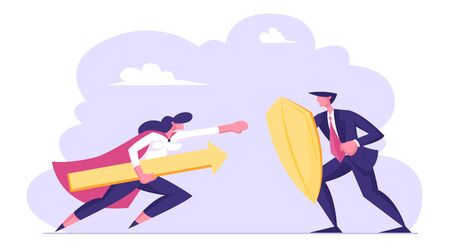 Businesswoman in Super Hero Cloak Holding Huge Arrow Attack Businessman with Shield. Business Protection and Challenge Concept. Manager Employee Characters Fighting. Cartoon Flat Vector Illustration Illustration